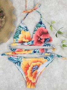 Halter Tie Back Floral Wrap Bikini Set