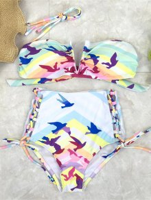 Lace Up High Waist Birds Bikini Set - Multicolor Xl