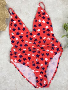 Star Print Open Back Cami Swimsuit - RED L