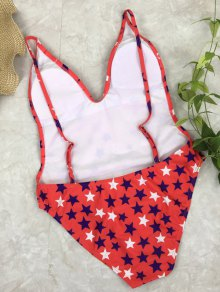 Star Print Open Back Cami Swimsuit - RED M