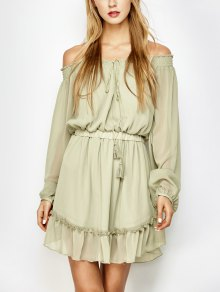 Off The Shoulder Chiffon Ruffle Mini Dress - Light Green