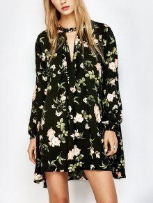 Floral Print Keyhole Neck Swing Dress - Black