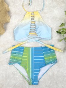 High Waist Halter Striped Bikini Set