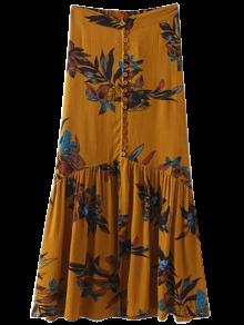 التنورة الطويلة البوهيمية مع الصدرية الواحدة بطبع الزهور - زنجبيل L