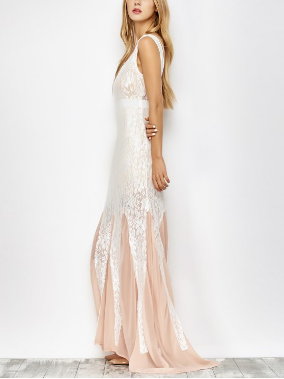 Chiffon Lace Maxi Mermaid Prom Dress - PINK AND WHITE S Mobile