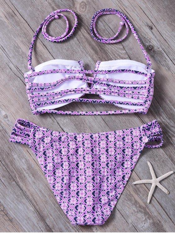 Tile Print String Bandeau Bikini - PURPLE L Mobile