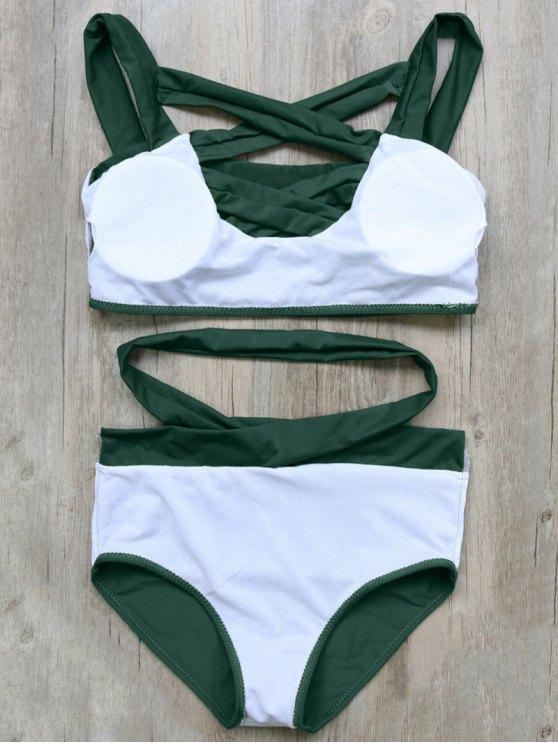 Crossover Cutout Bikini Set - GREEN S Mobile
