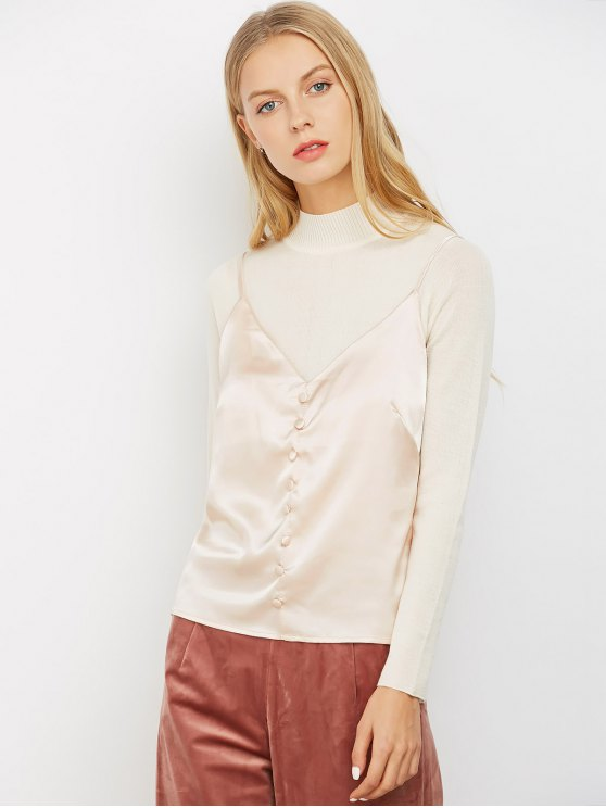 Buttoned Satin Cami Top - LIGHT PINK L Mobile