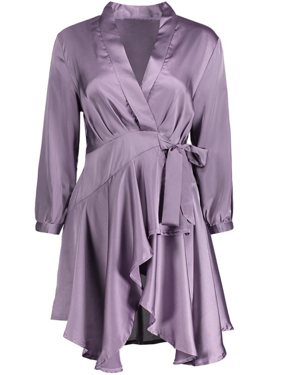 Satin Wrap Robe Tea Dress - PURPLE L Mobile