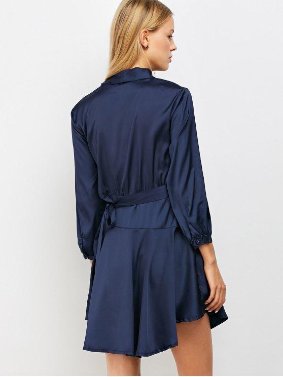 Satin Wrap Robe Tea Dress - PURPLISH BLUE L Mobile