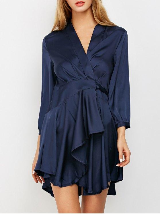 Satin Wrap Robe Tea Dress - Purplish Blue
