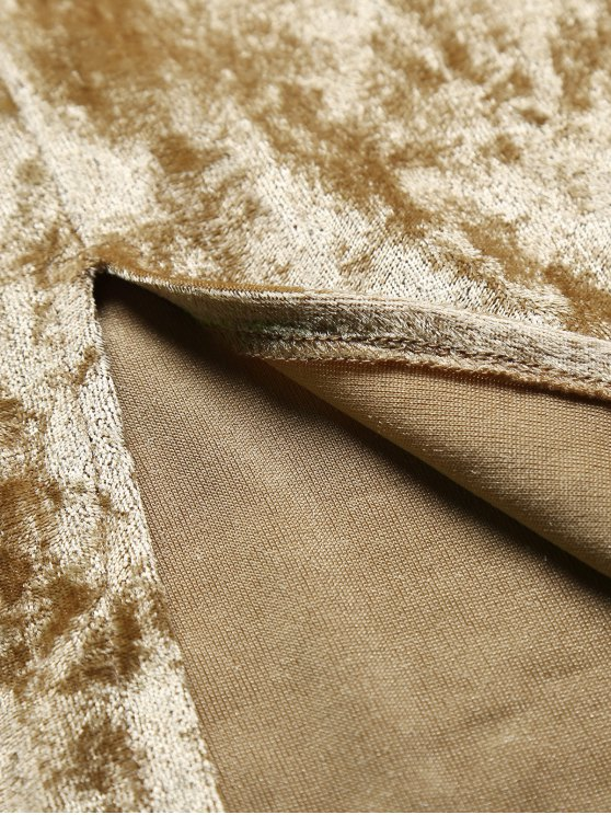 Strappy Crushed Velvet Midi Pencil Dress - KHAKI S Mobile