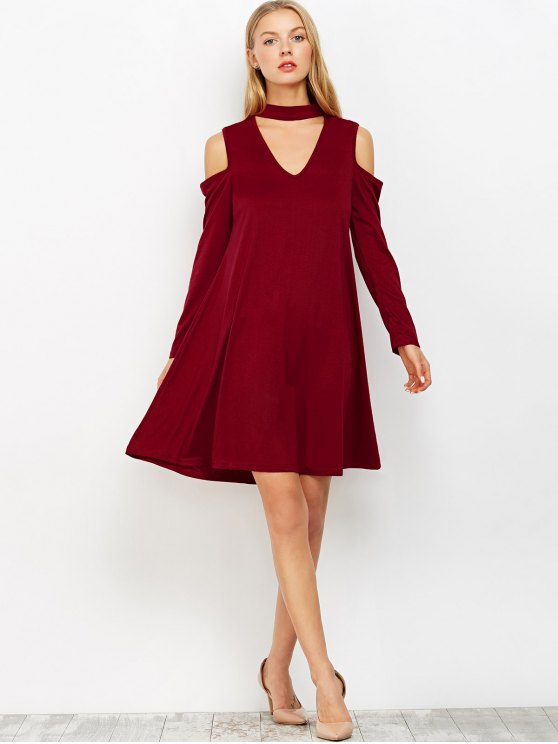 Cutout Shoulder Choker Neck Swing Dress - BURGUNDY XL Mobile