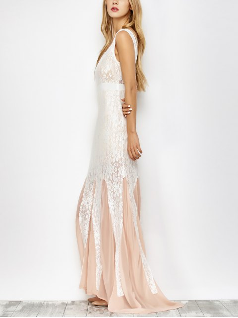 women Chiffon Lace Maxi Mermaid Prom Dress - PINK AND WHITE S Mobile