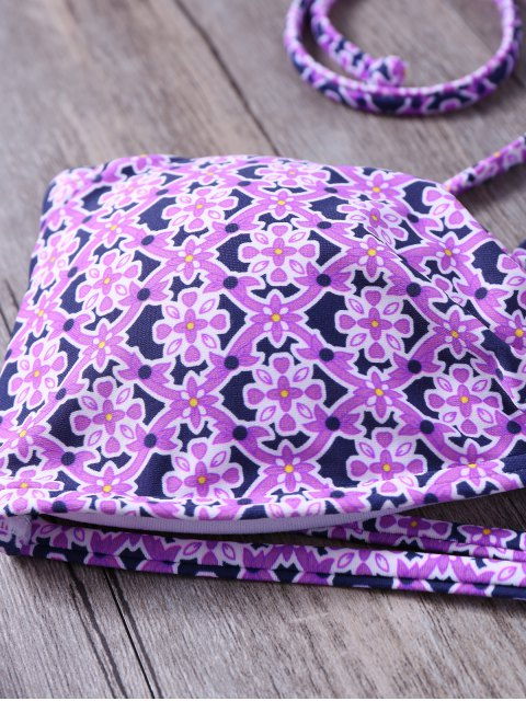 women Tile Print String Bandeau Bikini - PURPLE L Mobile