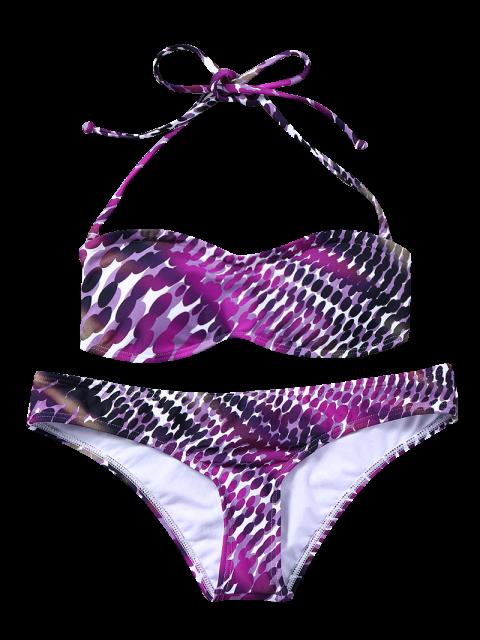 trendy Bandeau Polka Dot Bikini - PURPLE M Mobile