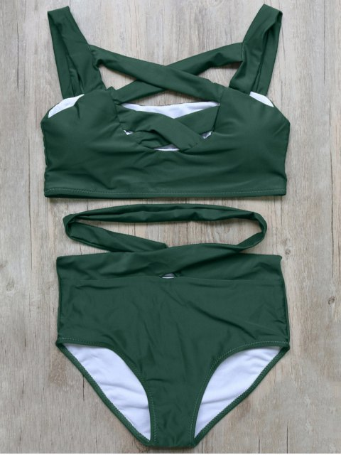 fancy Crossover Cutout Bikini Set - GREEN L Mobile