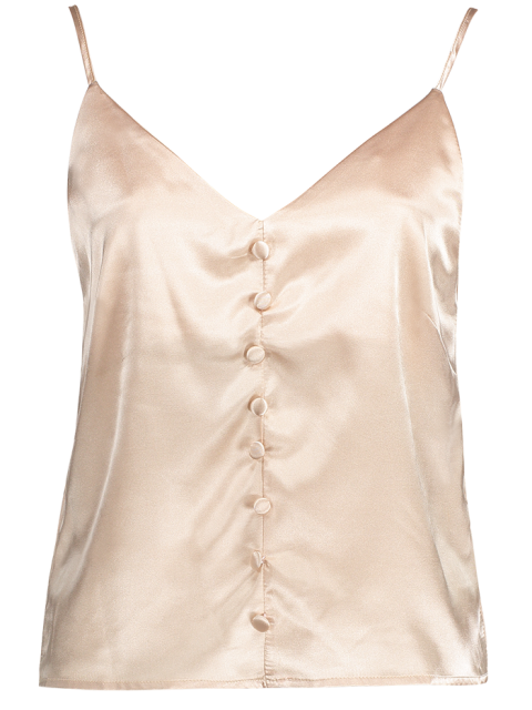 online Buttoned Satin Cami Top - LIGHT PINK S Mobile