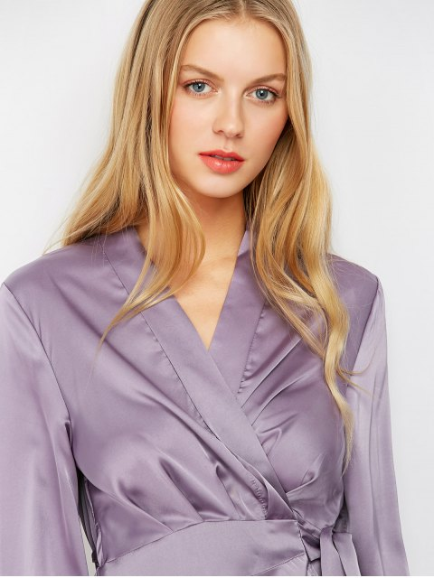 ladies Satin Wrap Robe Tea Dress - PURPLE S Mobile