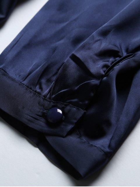 lady Satin Wrap Robe Tea Dress - PURPLISH BLUE L Mobile