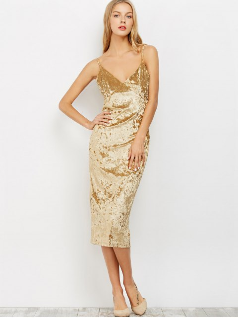 outfits Strappy Crushed Velvet Midi Pencil Dress - KHAKI L Mobile