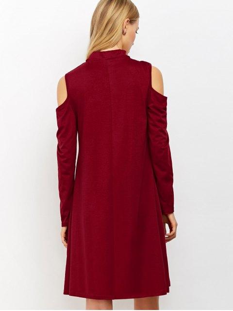 trendy Cutout Shoulder Choker Neck Swing Dress - BURGUNDY L Mobile