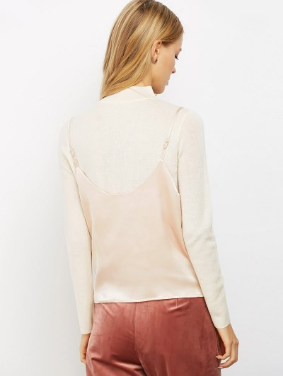 Buttoned Satin Cami Top - LIGHT PINK M Mobile
