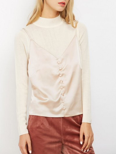 Buttoned Satin Cami Top - LIGHT PINK S Mobile