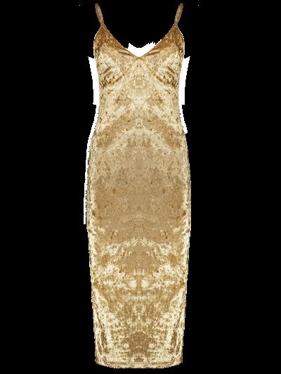 Strappy Crushed Velvet Midi Pencil Dress - KHAKI L Mobile