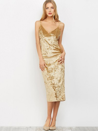 Strappy Crushed Velvet Midi Pencil Dress - KHAKI M Mobile