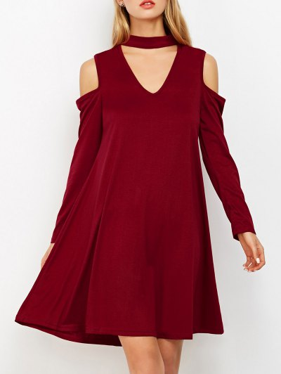 Cutout Shoulder Choker Neck Swing Dress - BURGUNDY L Mobile