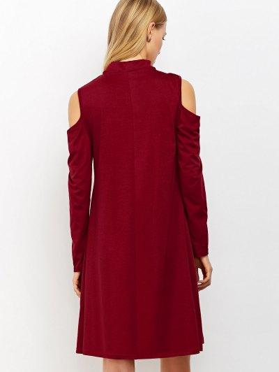 Cutout Shoulder Choker Neck Swing Dress - BURGUNDY M Mobile