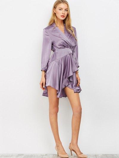 Satin Wrap Robe Dress - PURPLE L Mobile