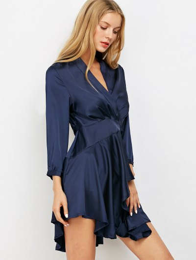 Satin Wrap Robe Dress - PURPLISH BLUE M Mobile