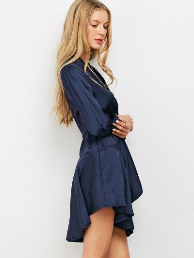 Satin Wrap Robe Dress - PURPLISH BLUE S Mobile