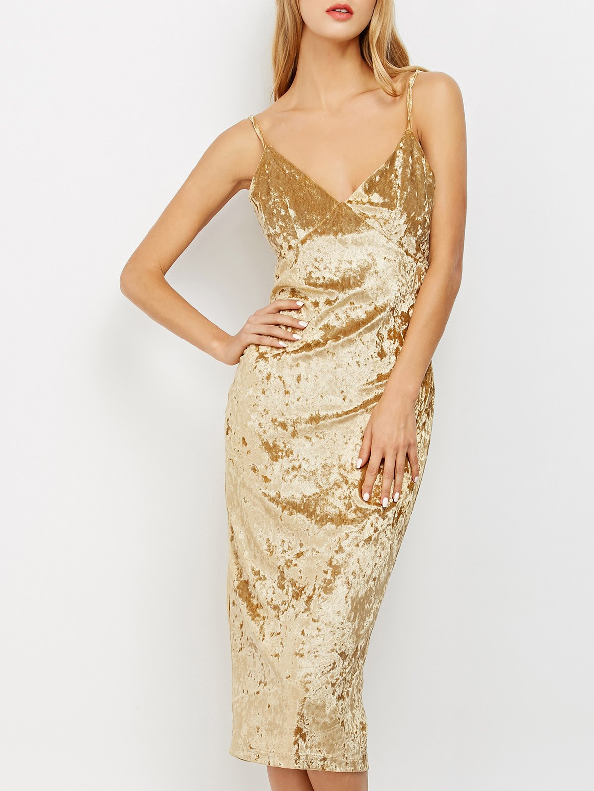 Crushed Velvet Cami Pencil Dress