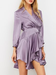 Satin Wrap Robe Tea Dress - Purple M