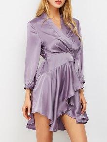 Satin Wrap Robe Tea Dress - Purple