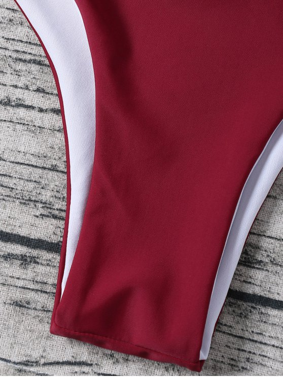Strappy Halter Wrap Bikini Set - WINE RED L Mobile