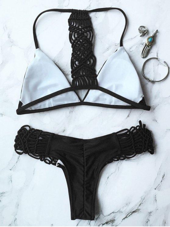 Knitting Strappy Bikini Set - BLACK M Mobile