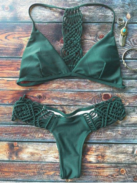Knitting Strappy Bikini Set - GREEN L Mobile