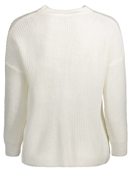 Oversized Drop Shoulder Choker Sweater - WHITE ONE SIZE Mobile