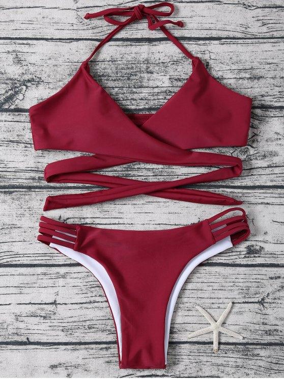 online Strappy Halter Wrap Bikini Set - WINE RED S