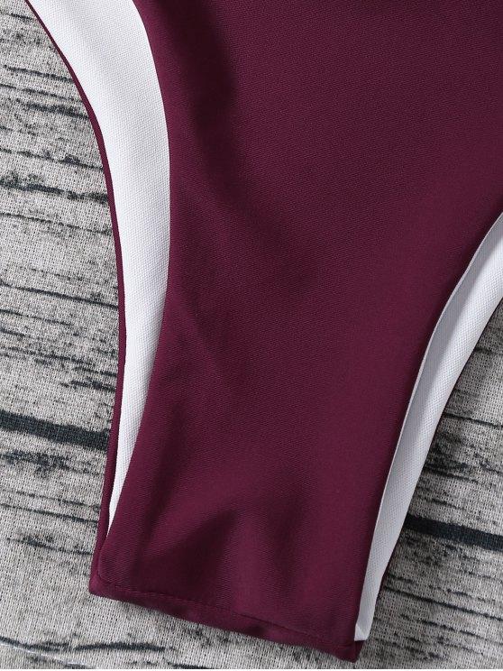 Strappy Halter Wrap Bikini Set - PURPLISH RED M Mobile