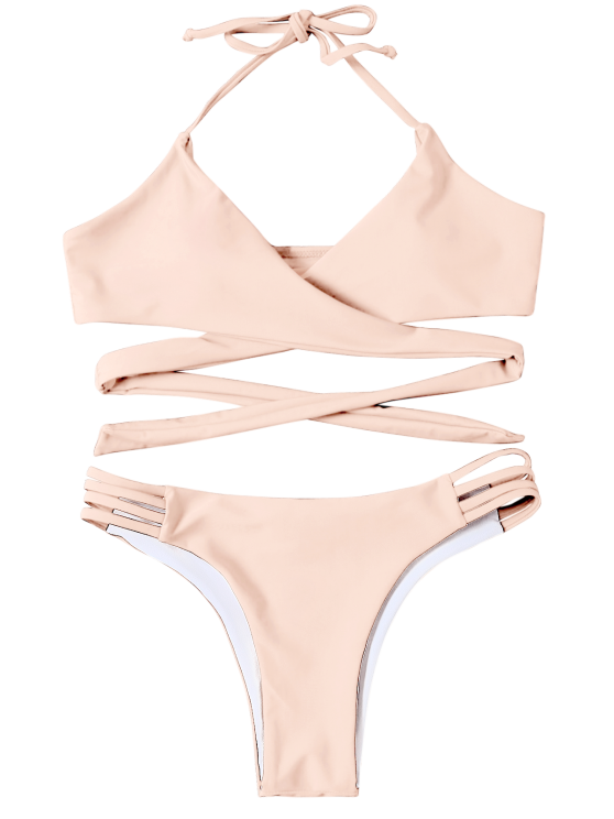 Strappy Halter Wrap Bikini Set - LIGHT APRICOT PINK L Mobile
