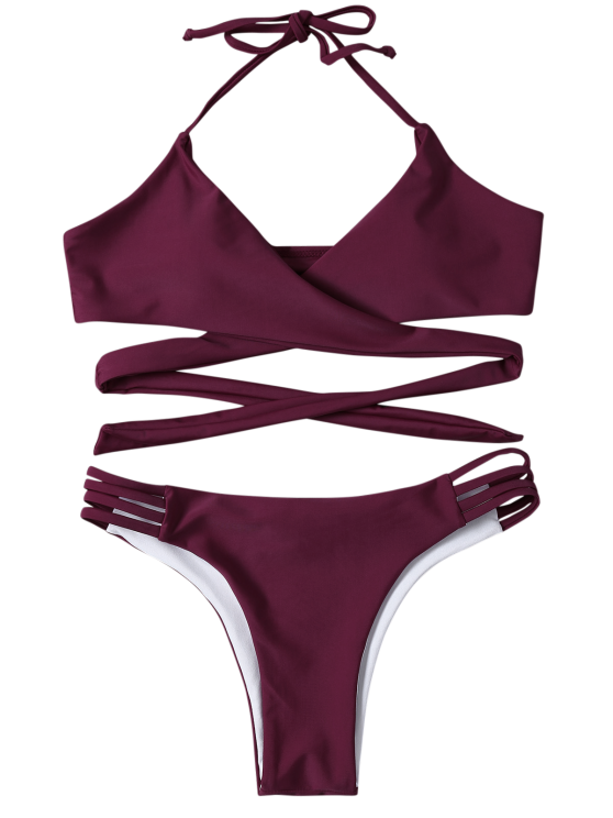 Strappy Halter Wrap Bikini Set - PURPLISH RED S Mobile