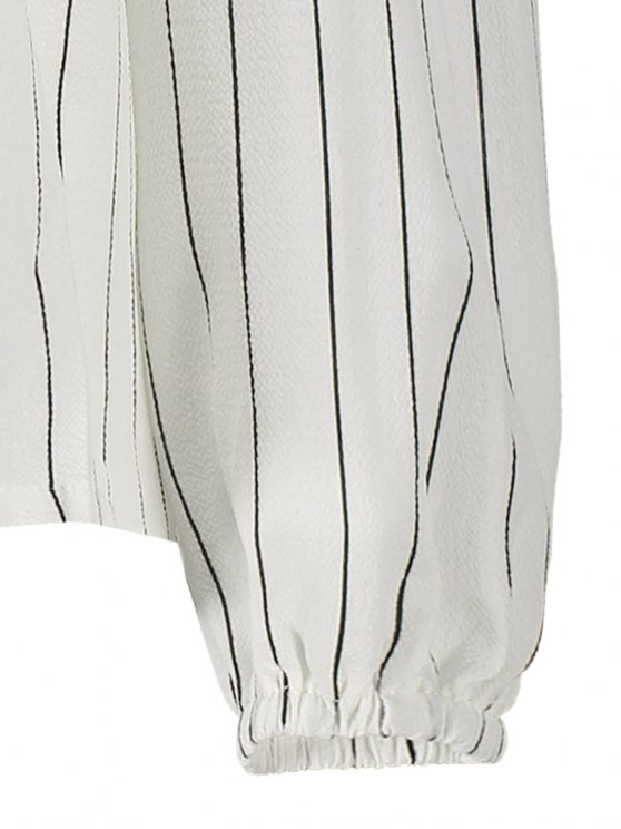 Off The Shoulder Stripe Ruffles Blouse - WHITE S Mobile
