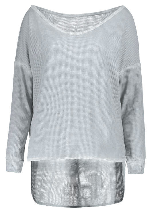 Loose One-Shoulder Sweater - GRAY S Mobile