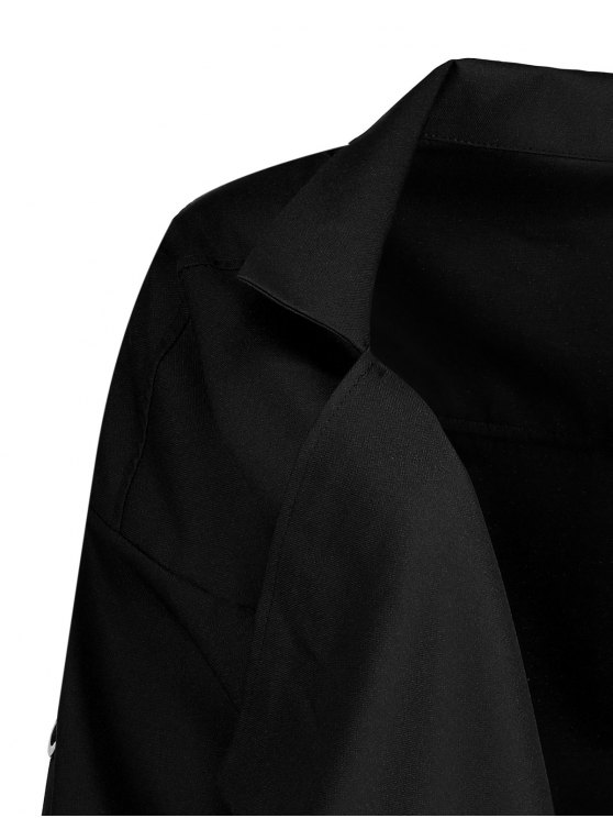 Long Sleeve Solid Color Trench Coat - BLACK S Mobile