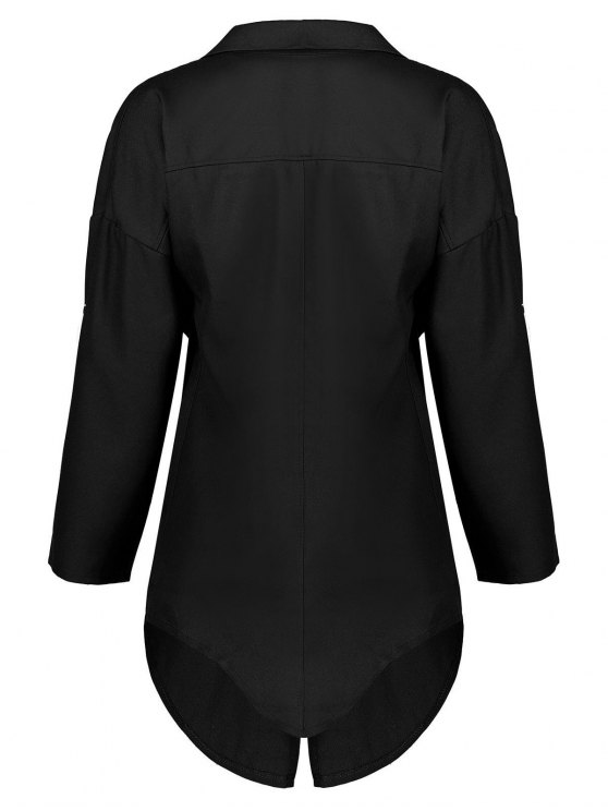 Long Sleeve Solid Color Trench Coat - BLACK XL Mobile